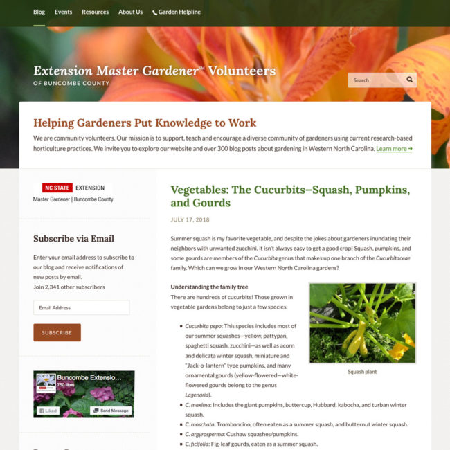 The Buncombe County Master Gardener Volunteers website screenshot
