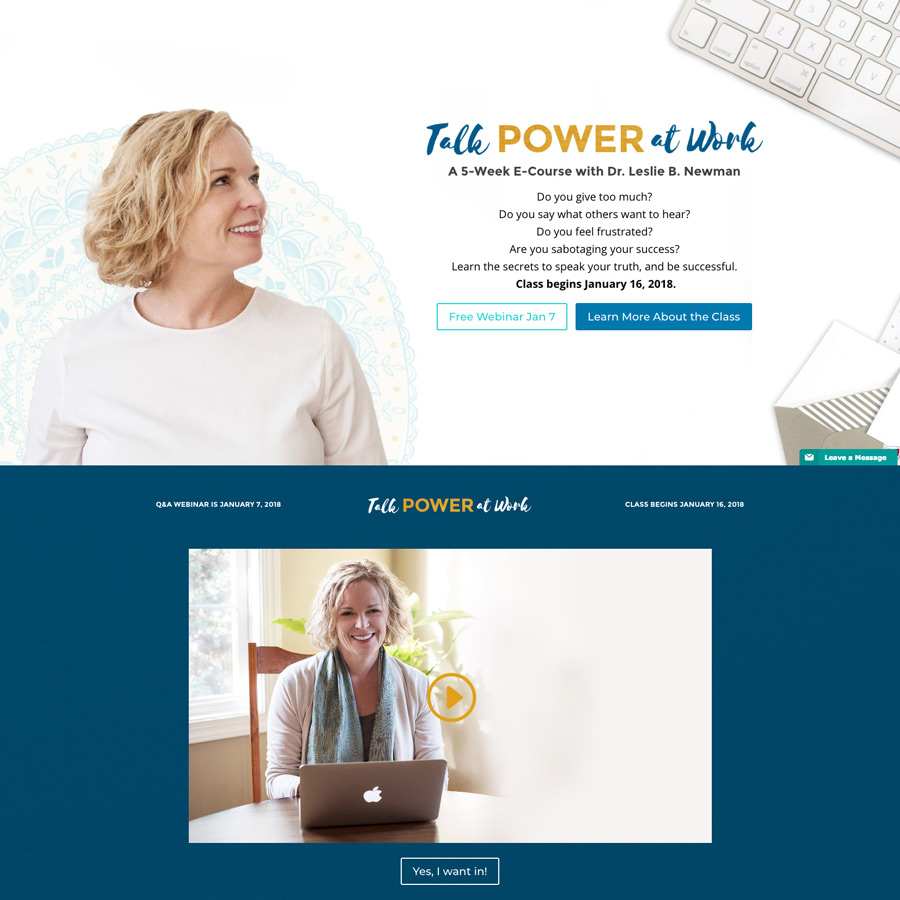 Talk Power at Work landing page screenshot