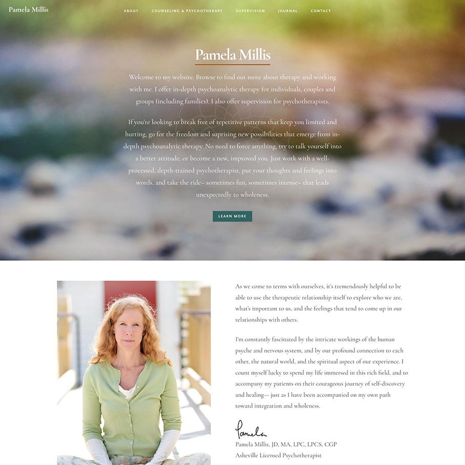 Pamela Millis homepage screenshot