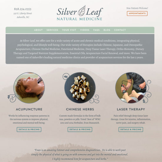 Silver Leaf Natural Medicine website homepage screenshot