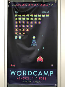 WordCamp Asheville 2018 banner with retro game theme