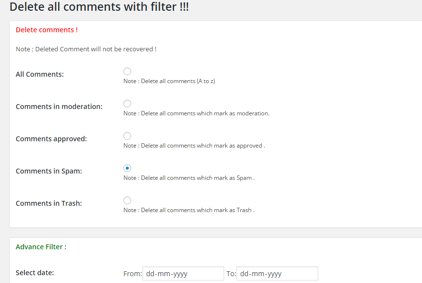 Delete all comments plugin settings screenshot